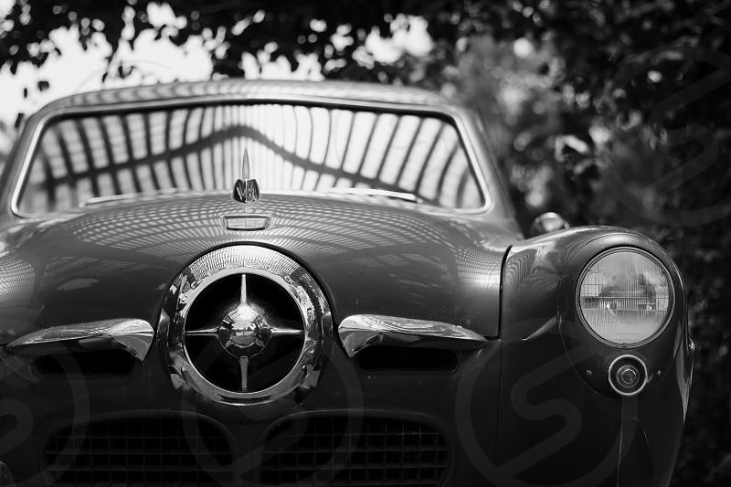 Black & White Car Retro History Reflection Detail photo