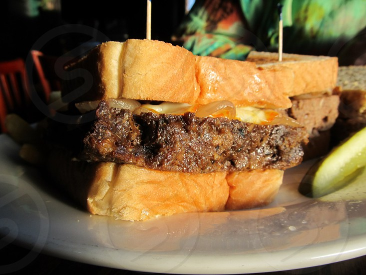 Meatloaf sandwich on thick bread photo