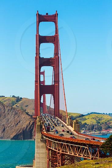 Golden Gate Bridge traffic in San Francisco California USA photo