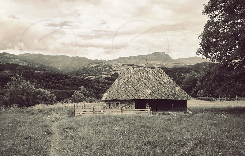 Exterior of a sheep house during summer day.  photo