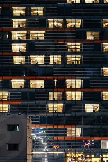 Architecture close-up windows night light photo