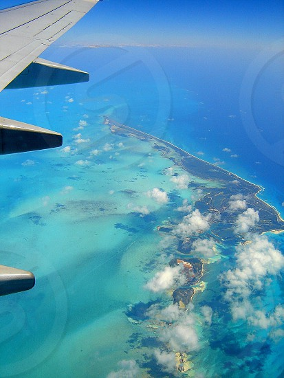 aerial view of the clear water of the caribean sea coco cay cuba photo