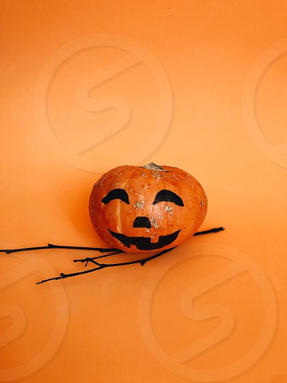 Halloween halloween party party pumpkin scare scary face minimal orange color boo spooky Halloween spooky spooky party trick or treat  photo