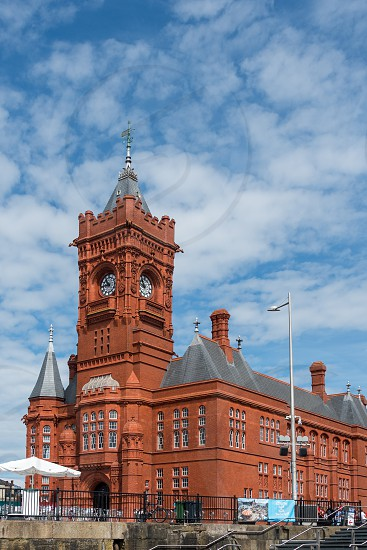 CARDIFF/UK - JULY 7 : View of the Pierhead Building in Cardiff on July 7 2019. Unidentified people photo