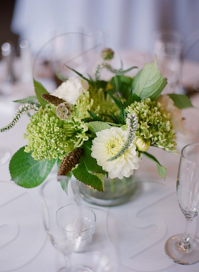 floral arrangement flowers pretty tabletop wedding flowers green white simple elegant rustic photo