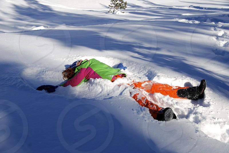 Location:  Sun Valley Idaho; prairie creek; snow angel; winter photo