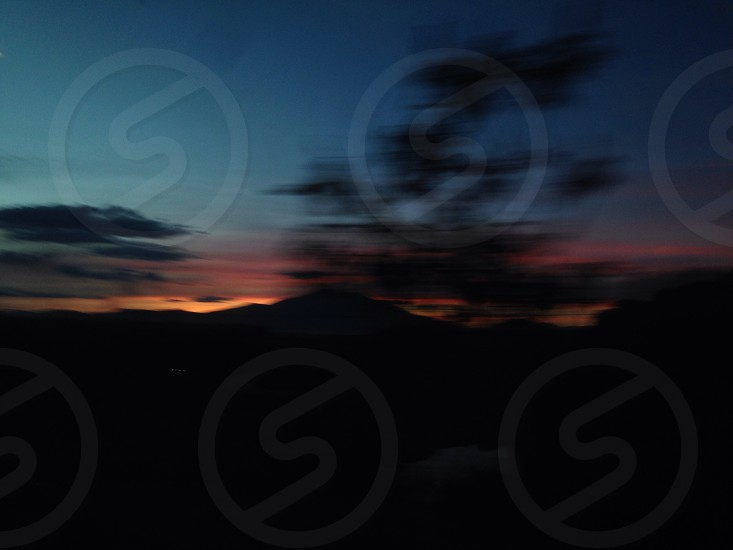 Picture taken from the inside of a moving train in Tequila Mexico. You can see the orange sky sunset and some unfocused trees. photo