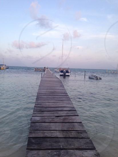 gray wooden sea dock photo