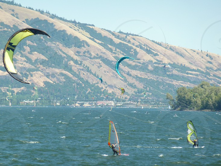 Wind surfing in the Columbia River Gorge photo