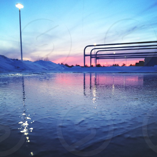 meijer parking lot ice sunset.  photo