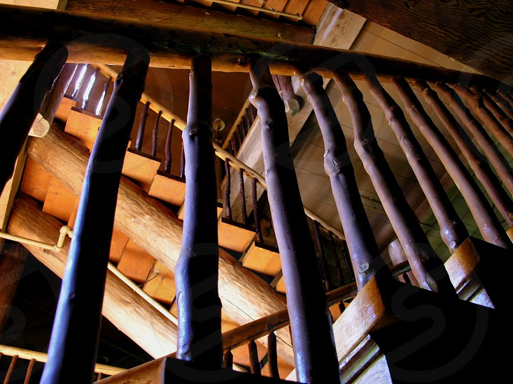 Stripes created by multiple stair railings photo