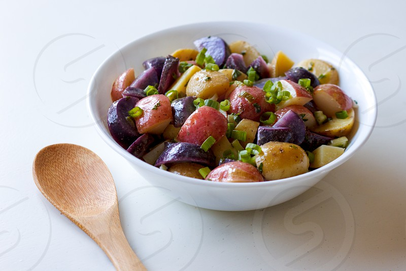 Red white and blue potato salad. photo