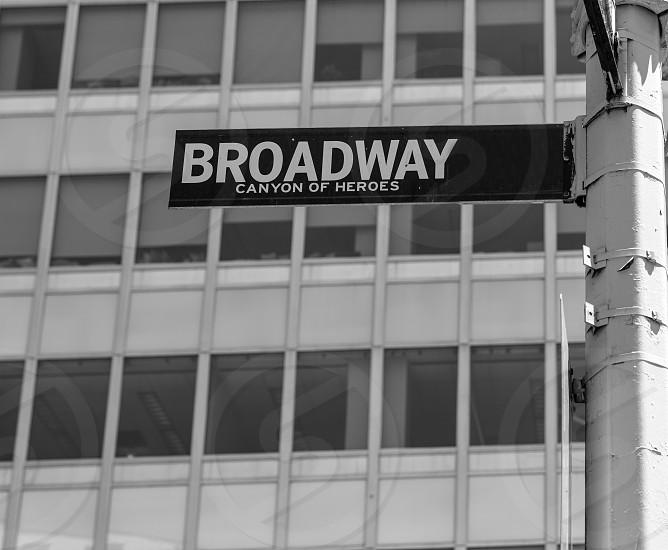 Broadway street sign Lower Manhattan New York City NYC USA photo