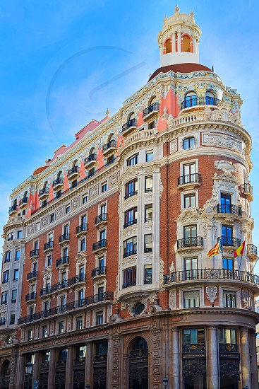 Banco de Valencia historical building in Pintor Sorolla street at Spain photo