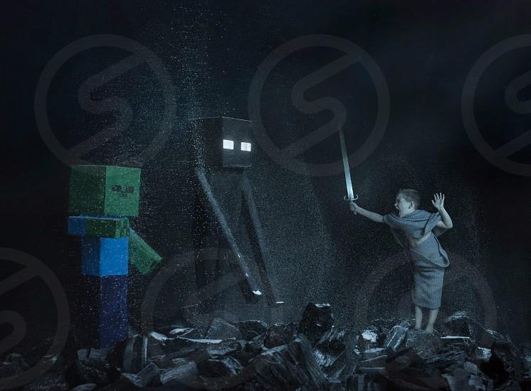 Minecraft fight sword child yelling dark photo