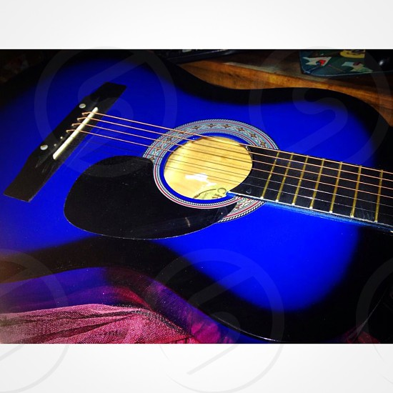 Blue acoustic guitar  photo