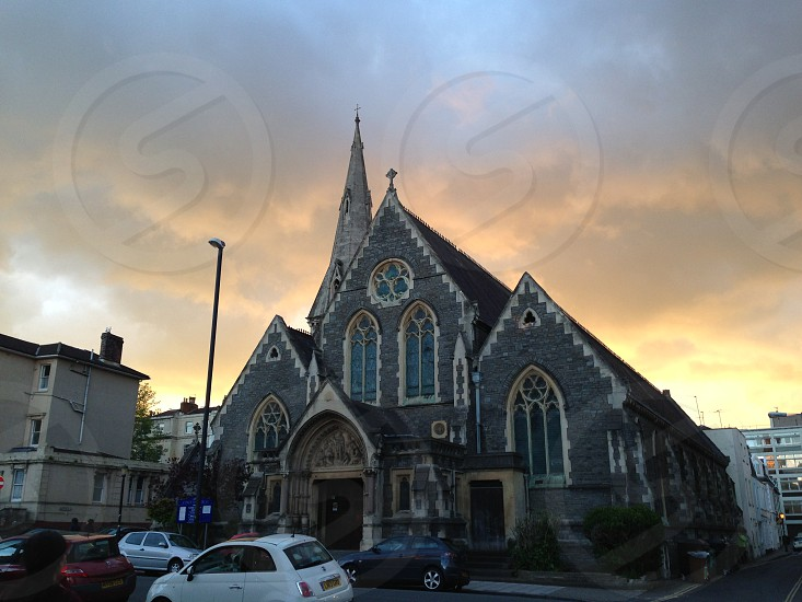 Sunset over a Church in Clifton Bristol UK photo