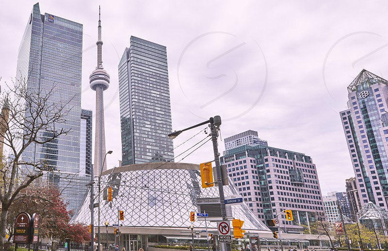 Roy Thompson Hall with CN Tower in background King Street West Toronto photo