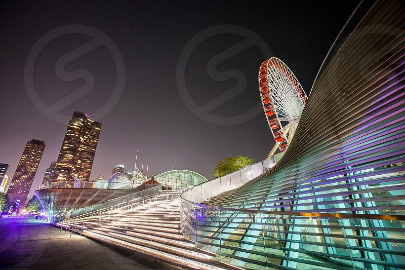 Architecture city buildings lines geometry structure. Chicago Naval Pier ferris wheel photo