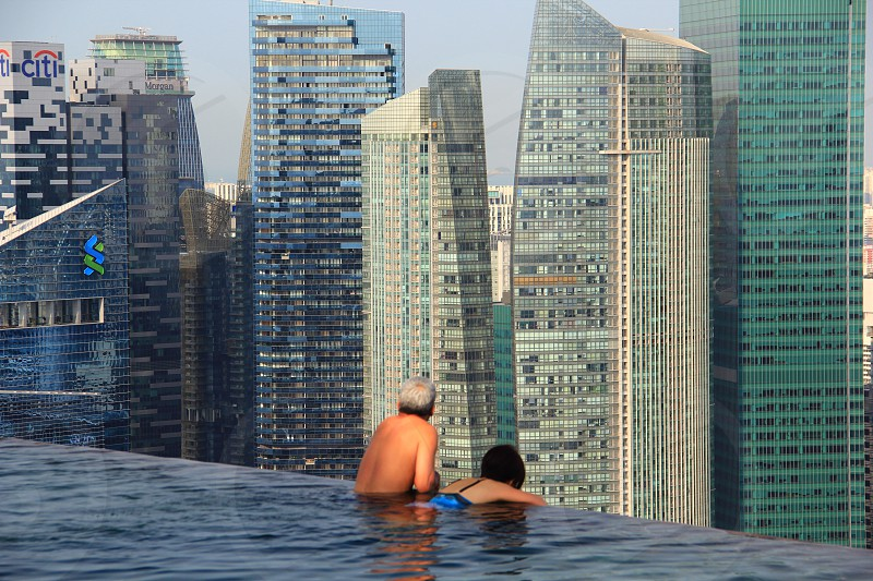 View from Marina Bay Sands infinity pool Singapore photo