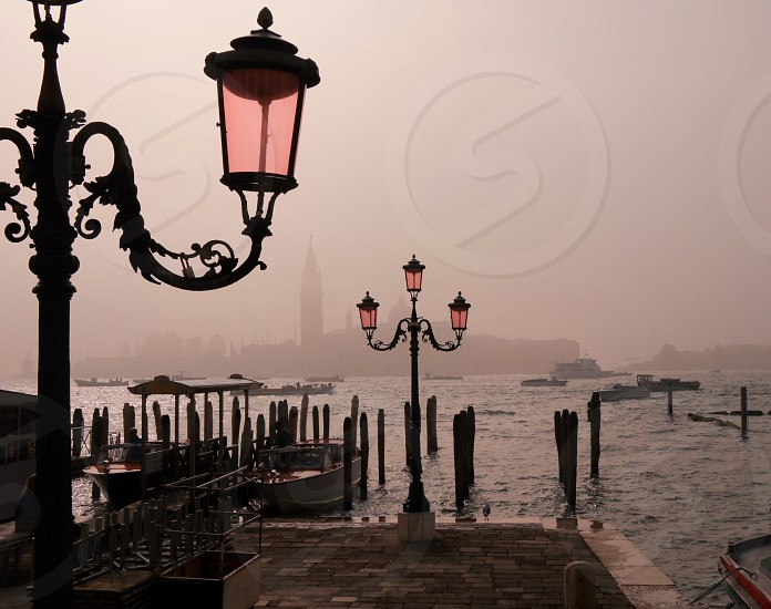 Fog Venice italy lantern river boat water fall old town  photo