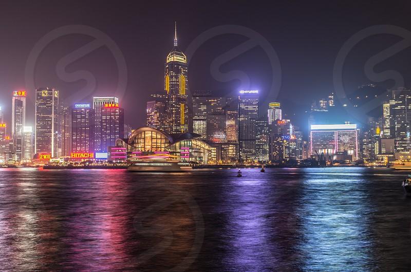 Hong Kong skyline at night photo