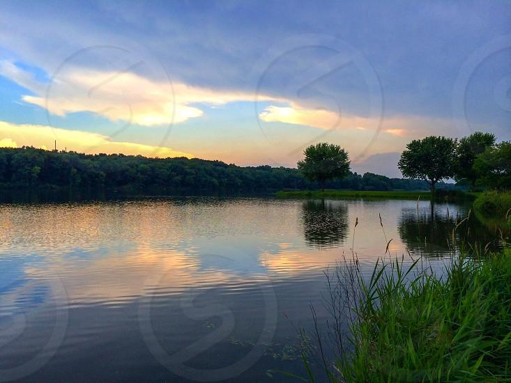 Summer Lake sunset cloudy day  photo