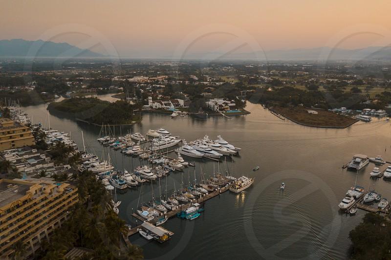 Early morning aerial view at Marina Nuevo Vallarta Nayarit Mexico. photo