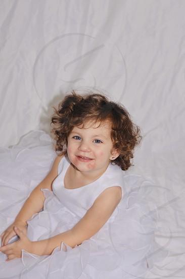 Toddler Dress Smile Blue Eyes White Hair Earrings  photo