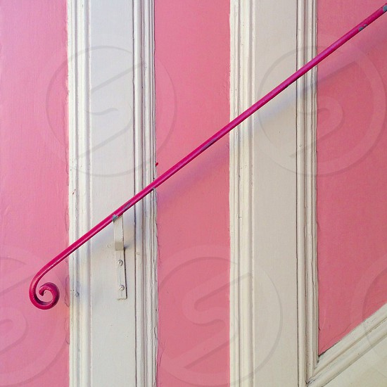 pink stair railing  photo