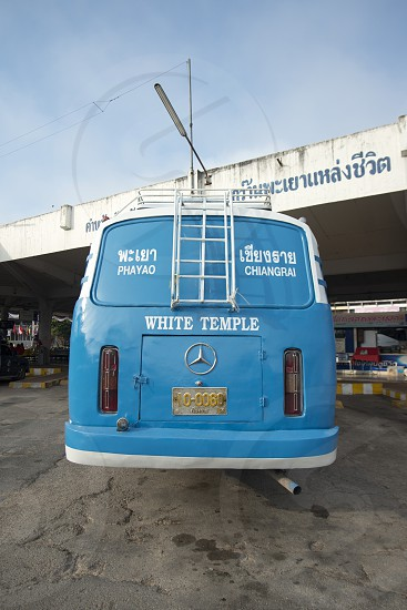 a public Bus at the Bus Terminal in the city of Phayao in North Thailand. photo