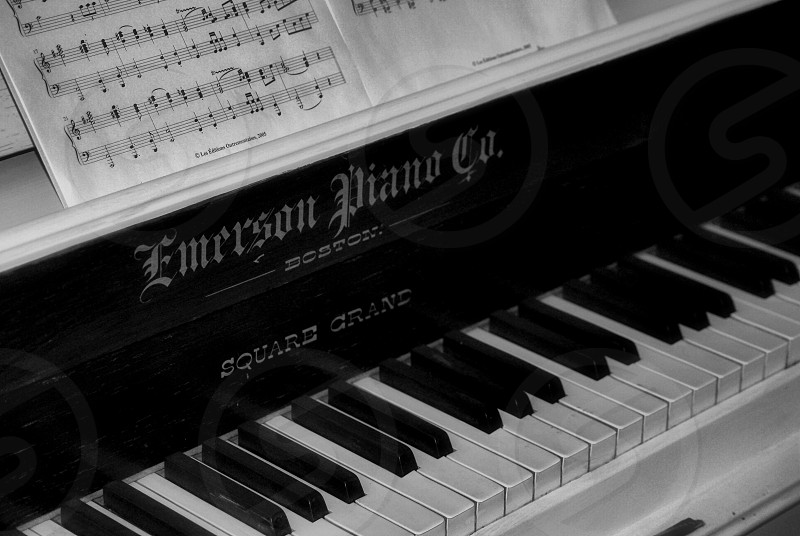 Vintage Piano with Sheet Music photo