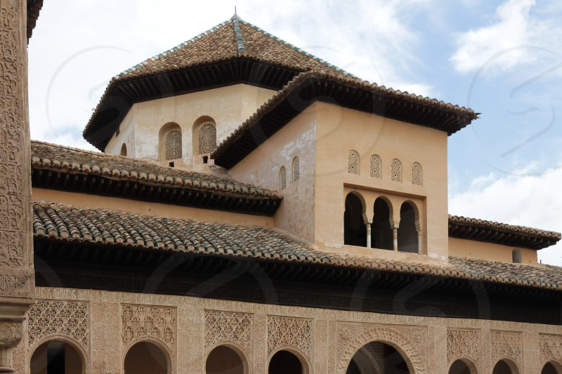 Alcazaba -  Granada Spain.  Also known as the Alhambra.  A fortification in Granada Spain. Built by the Moors in 1486. photo