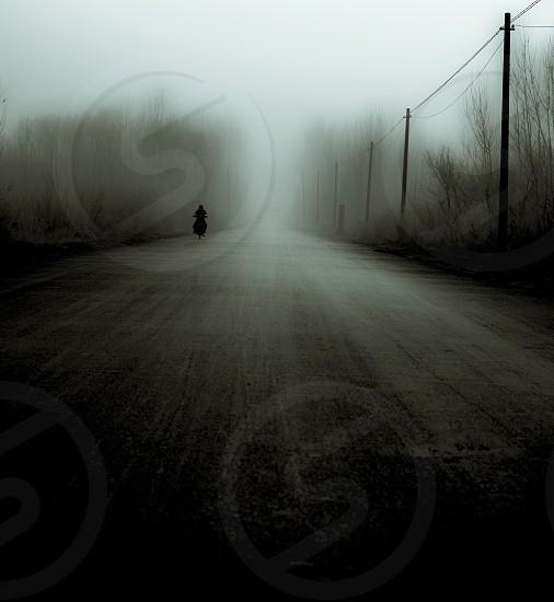 Black and white spooky dark mood moody woods ghost shadow blur fog haze gloomyfine art photo