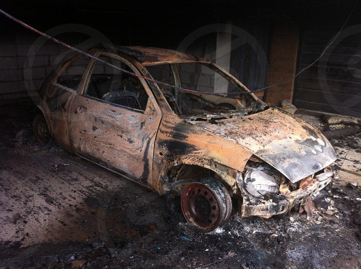 Burnt out car photo