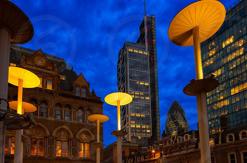 London liverpool street blue hour hendon tower gherkin photo