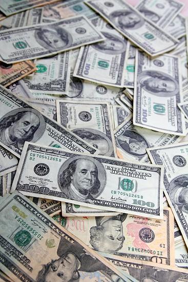 Dollar bank notes many banknotes bills American currency photo