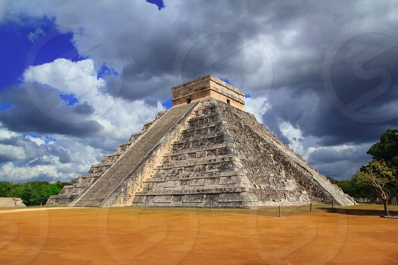 Chichen Itza Kukulkan Mayan pyramid dramatic sky Mexico Yucatan photo