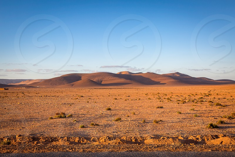 Dry and hot landscape southwestern part of Morocco photo