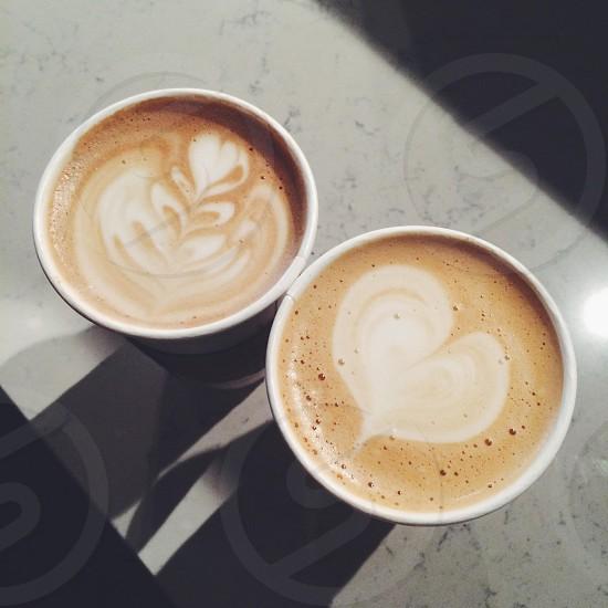 Coffee heart latte art marble photo