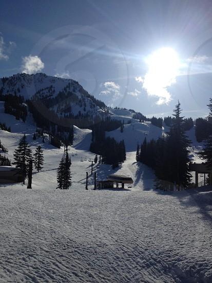 A beautiful sunny day at Stevens Pass Washington photo