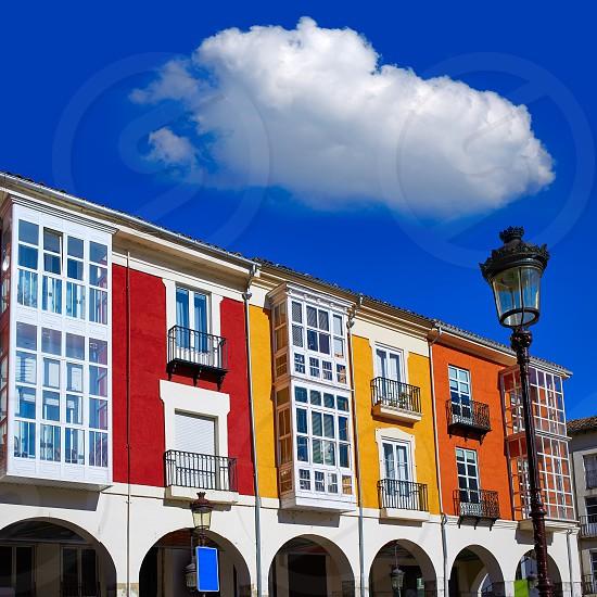 Santander street in Burgos arcades facades in Castilla Leon of Spain photo