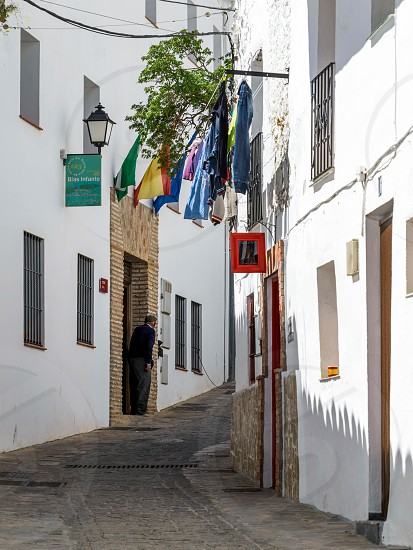 CASARES ANDALUCIA/SPAIN - MAY 5 : View of Casares in Spain on May 5 2014. Unidentified man. photo