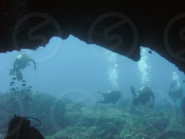 Cave ocean scuba diving divers photo