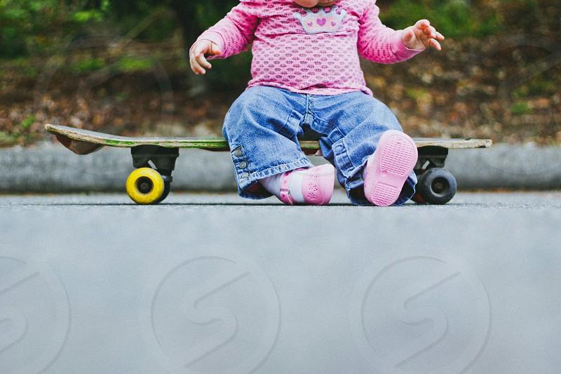 child children girl skateboard baby toddler kids photo