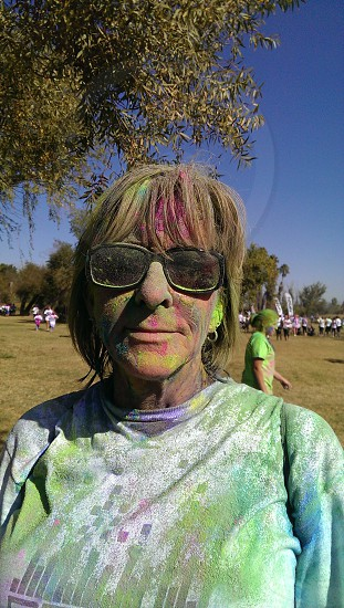 This is a picture of my grandma that I took after she did a 5k color run. photo