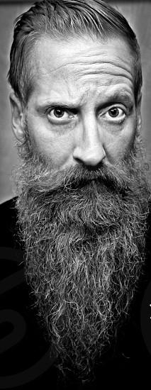 Portrait; black and white; gray; beard; wrinkles photo