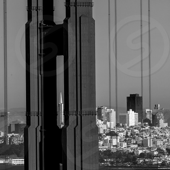 San Francisco Golden Gate Bridge view through cables in California USA photo