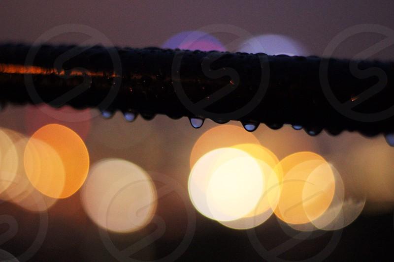 Raindrops & city bokeh photo