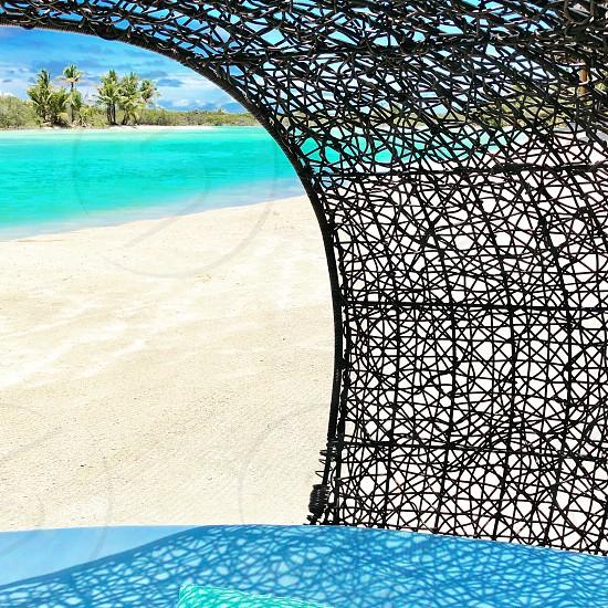 Lagoon sand sandy beach water sea wicker Polynesia tropical bora bora-bora  photo